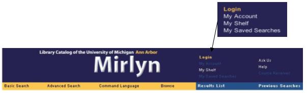 Mirlyn navigation bar