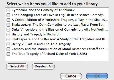 Select Items window