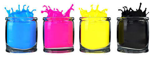 Four jars in a row that contain Cyan, Magenta, Yellow, and Black inks.