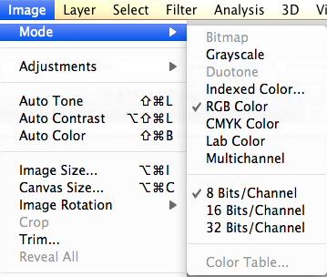 "Screenshot of Adobe Photoshop Image menu with ""Mode"" selected."