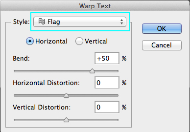 Warp Text Dialog Box