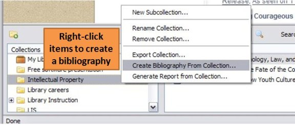 Screenshot showing the Zotero drop down menu to create a bibliography from your collection.