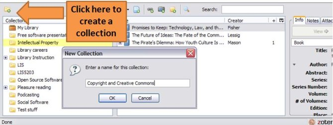 Screenshow showing where to click in Zotero to create a collection to organise your citations.
