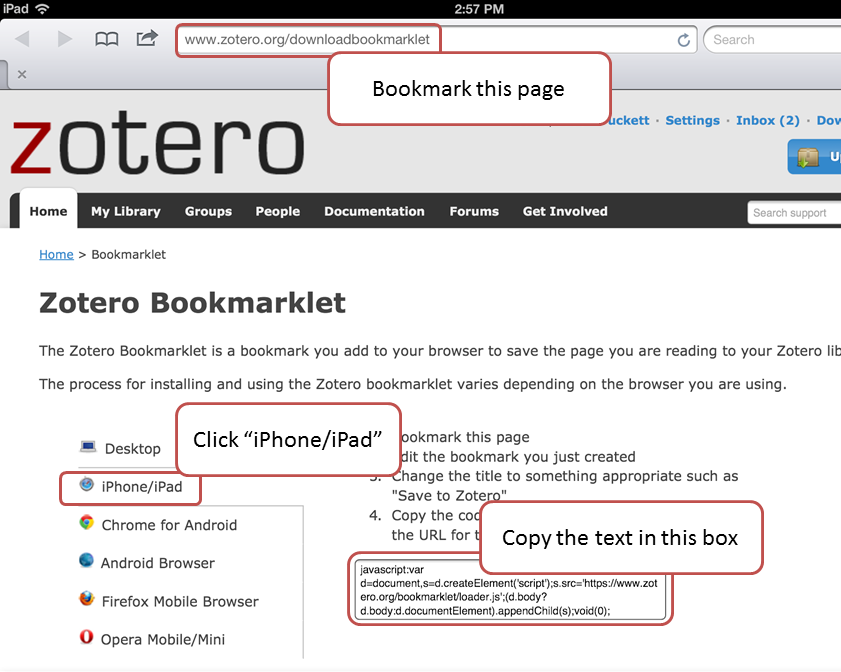 image of the bookmarklet directions page on Zotero.org