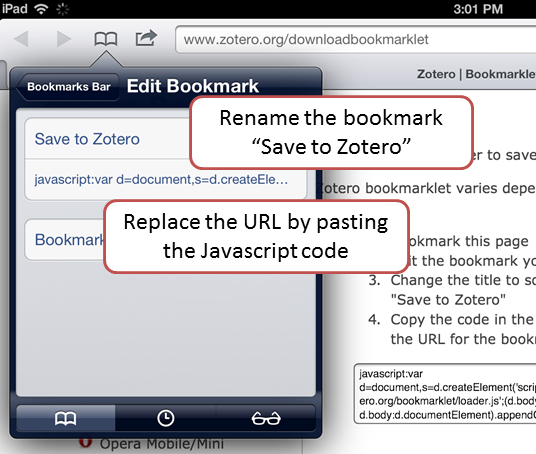 Install Zotero Bookmarklet for iOS