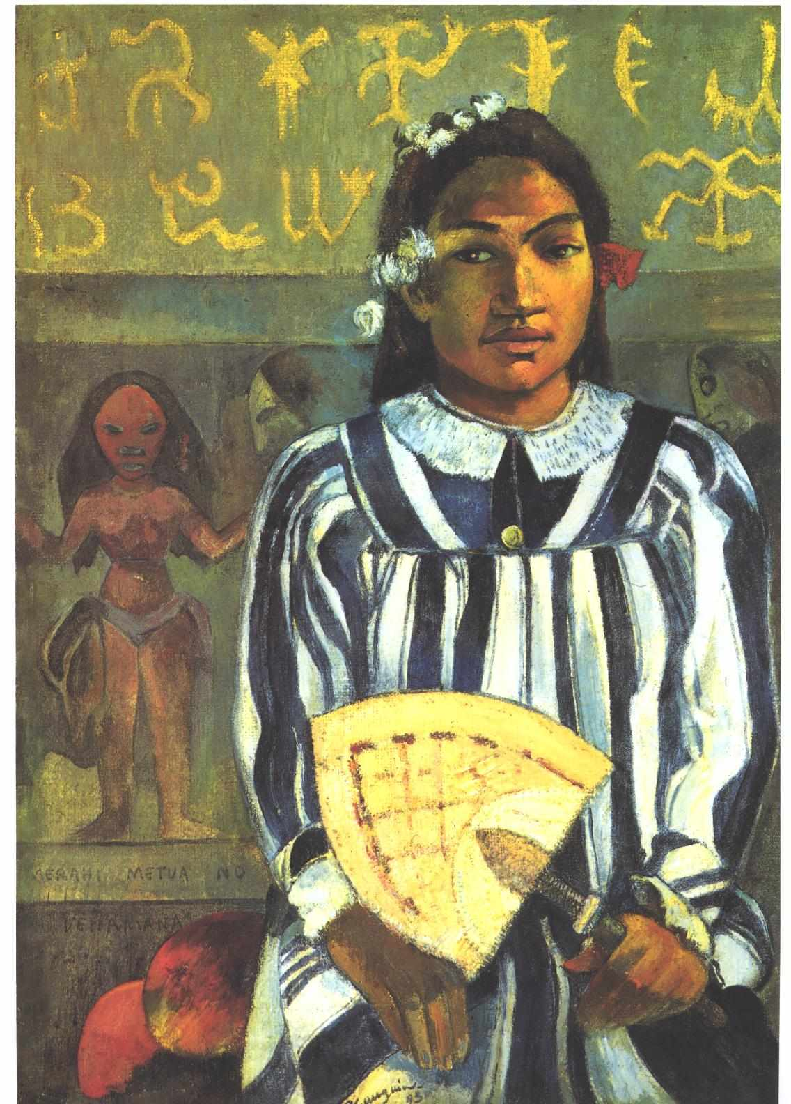 "Paul Gaugin, ""Tehamana Has Many Parents, or The Ancestors of Tehamana"". Courtesy of Wikimedia Commons."