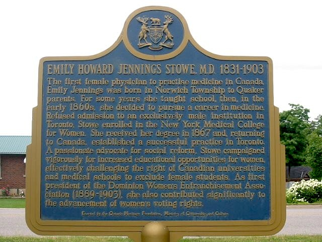 ontario plaque commemorating stowe
