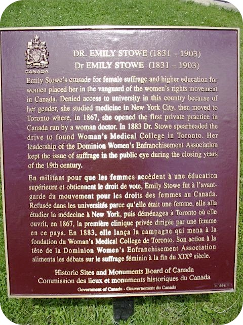 toronto plaque commemorating stowe