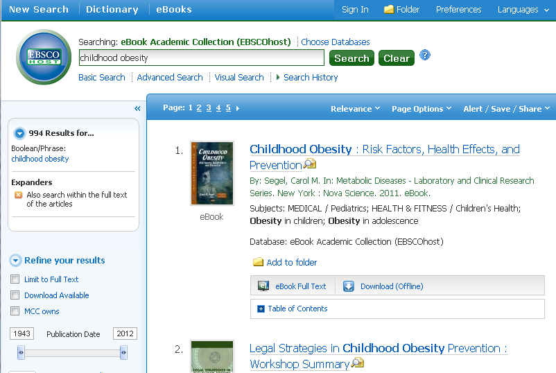 EBSCO e-book search screen