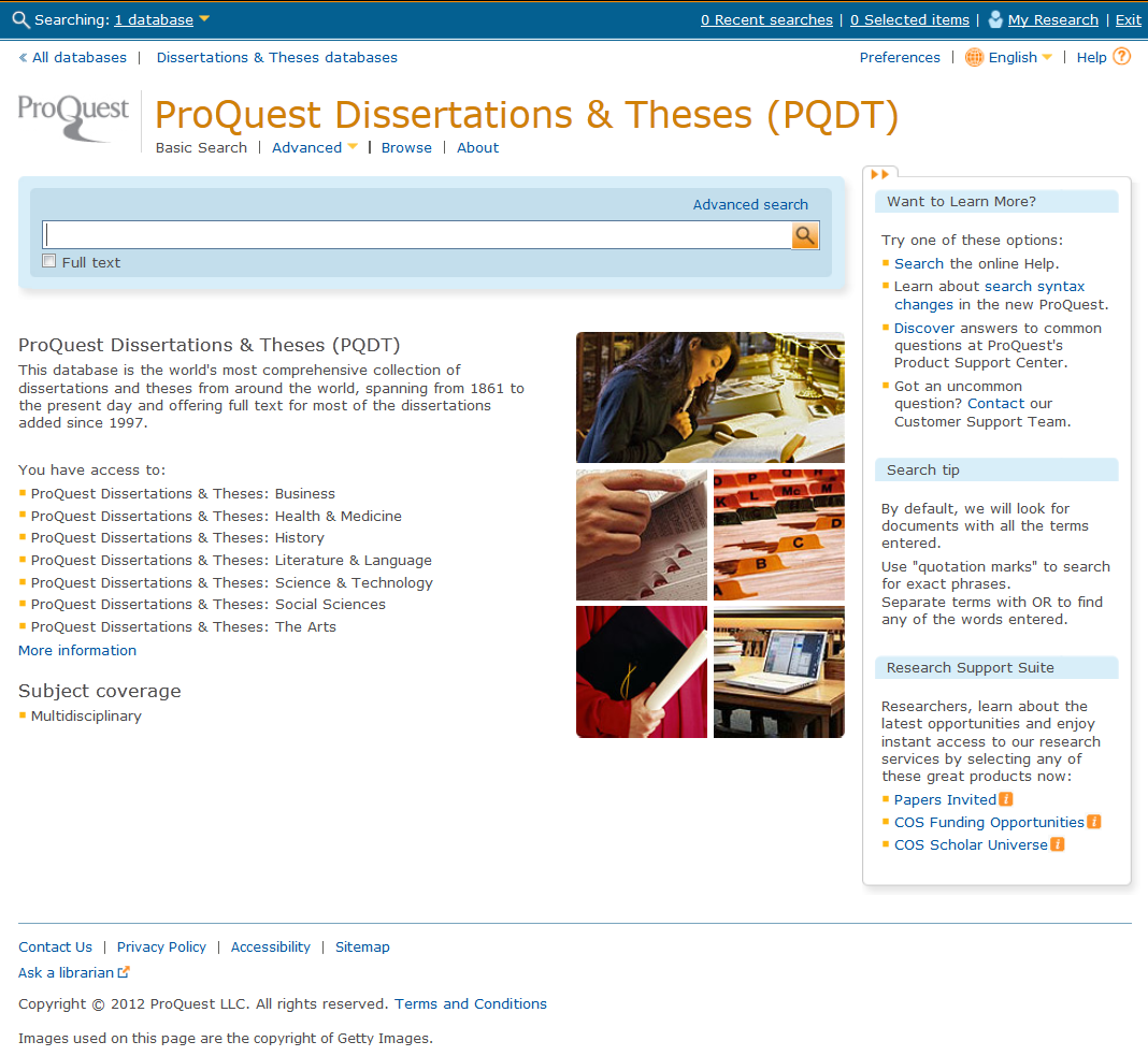 screenshot of proquest dissertations and theses searching homepage