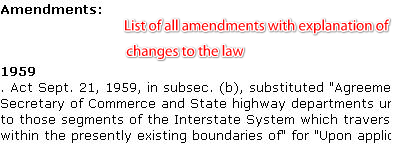 Section on amendments listed by date and summary