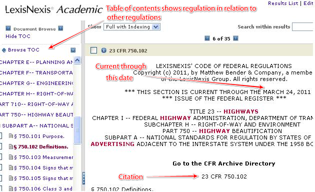 Some Features of the CFR in Lexis Nexis