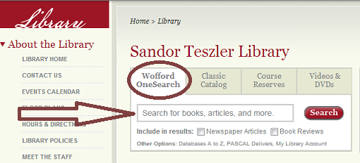 Screen grab of the Wofford Library homepage, with the location of Wofford OneSearch in the center of the page highlighted.