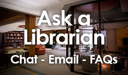 Button linking to Ask a Librarian Chat, Email, and FAQ service.