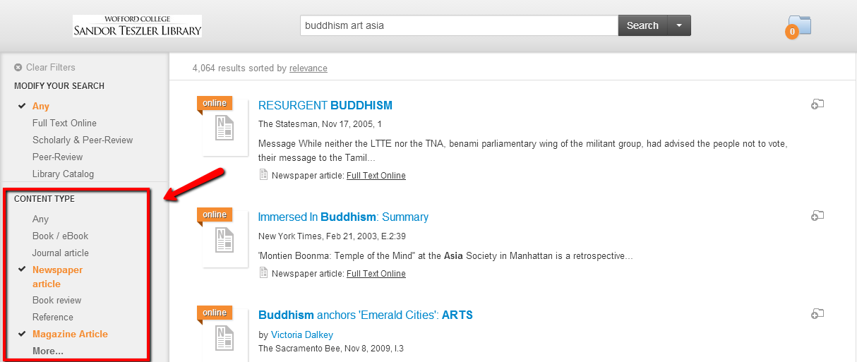 Search results screen in OneSearch, with the Content Type field in the left column highlighted.
