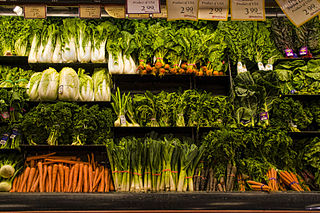 Fresh vegetables displayed in a supermarket