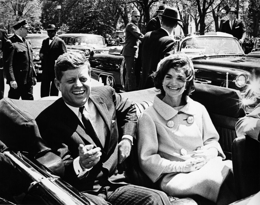 President John F. Kennedy and First Lady Jacqueline Kennedy at Arrival Ceremonies for Habib Bourguiba Sr., President of Tunisia, and His Wife, Moufida Bourguiba