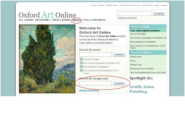Places to search for images in Oxford Art Online