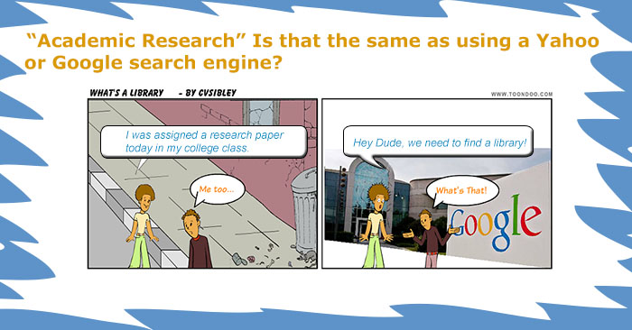 cartoon showing 2 students talking about research