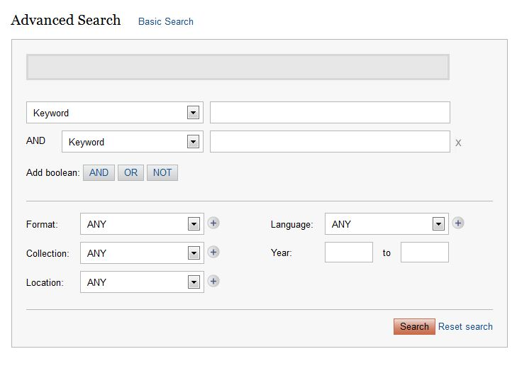 Advanced search box