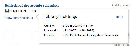 show library holdings