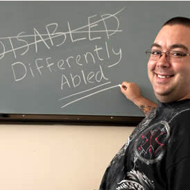 differently abled written by hand from man with smiling face