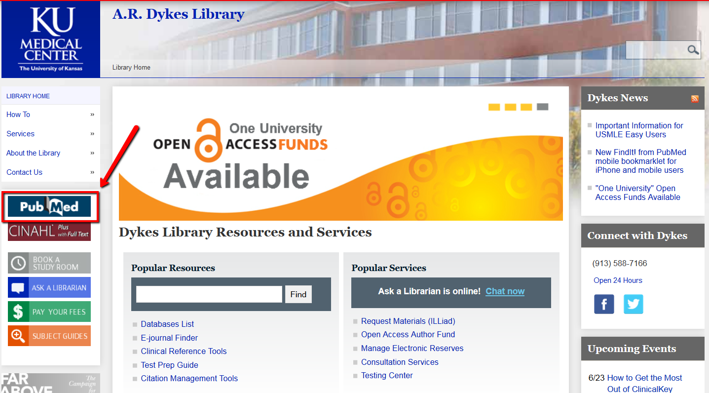 PubMed Link from Dykes Library main page