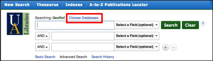 GeoRef Choose Database