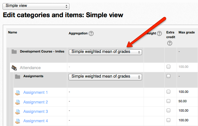 categories and items grade aggregation drop down