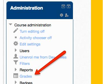 Grades link in Moodle Admin sidebar