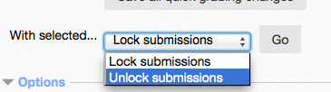 Unlock submission drop down