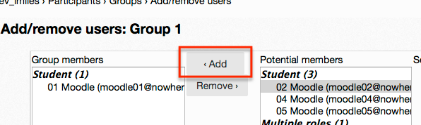 adding group members screen