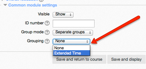 Grouping selection drop down list