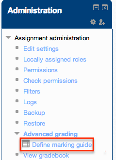 define marking guide link under administration block