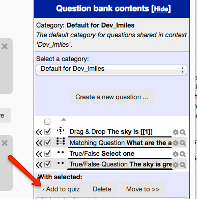 add question to quiz