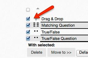 question select check boxes