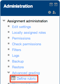 define rubric link under administration block