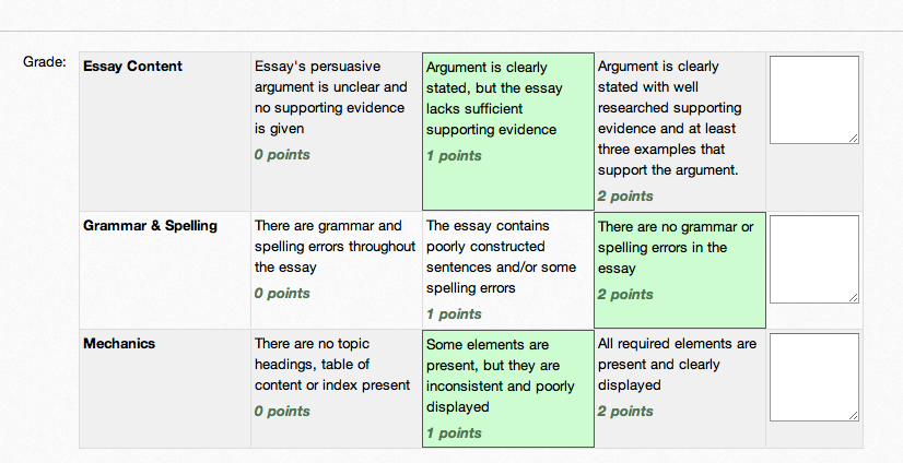 graded rubric screenshot