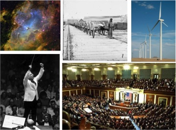 Clockwise from left: Leonard Bernstein, Eagle nebula, Civil War, wind turbines, Congressounter