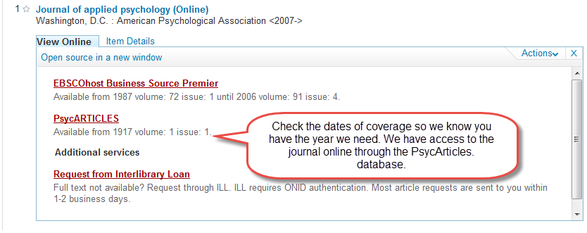 A speech bubble shows a journal's dates of coverage
