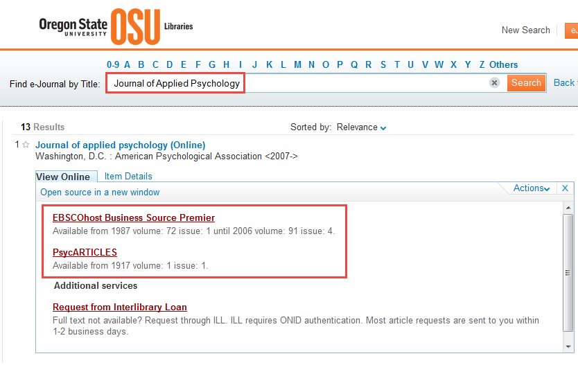 Online journal search results