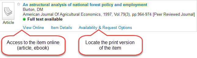 sample search academic search result showing where to view the source online and where to find print versions
