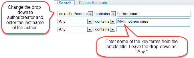 searchresults based on last name of the author and the topic of the study