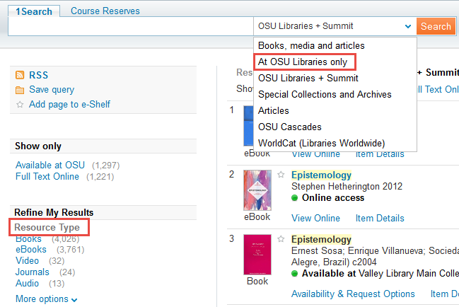 Searching the At OSU Libaries scope