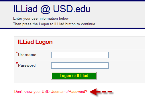 ILLiad login screen
