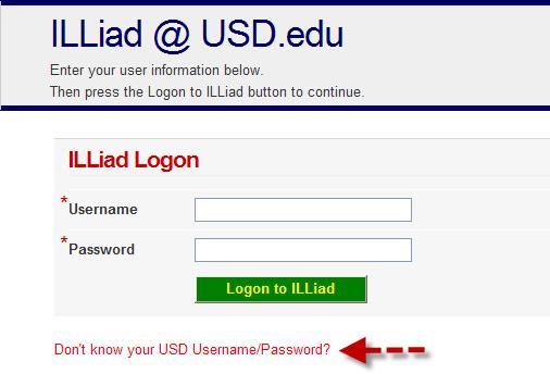 ILLiad login screen