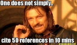 ONe does not simply cite 50 references in a hour