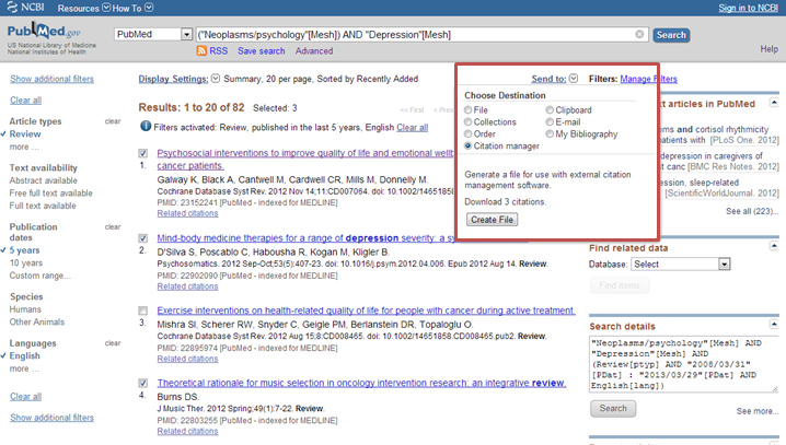 citation manager box viewed from search results
