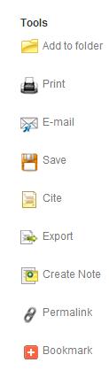 Screenshot of EBSCO sidebar