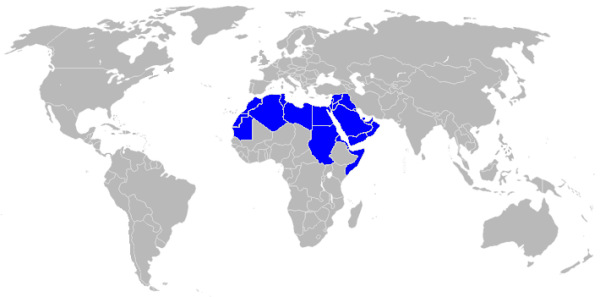 World map with Arabic-speaking countries highlighted in blue